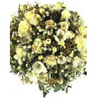 Flowers White Freesia, Yellow Roses with Wild Flowers -Flowers-