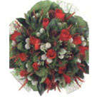 Red Roses, White Roses combined with Green and surrounded by a refine cloth