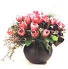 18 Peach Tulips combined with Rotem in ceramic vase