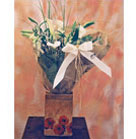 Lilies, Calla, Antirrhinum with greenery wrapped with white ribbon in handcrafted vase