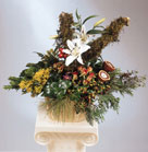 Log arrangement with White Lilis, Love Roses, Yellow Centrum, Hypericum, Phlox and greenery