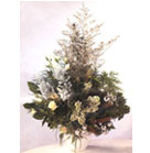 White Roses, Gravillea, Limonum and Kochia combined with greenery