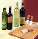 Cheese Serving Set-Wood Tray and 4 Cheese Knives: Dry Red Cabernet Sauvignon 750ml, White Chardonnay Sauvignon and excelent Olive Oil from Chef Series 500ml and Machati Balsamic Vinegar from Modena 500ml