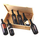 Selection of six Finest Wines from the Carmel-Mizrahi vineyard in a wooden presentation box.