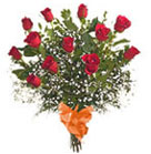 The classic symbol of love. With this selection you receive one dozen elegantly wrapped Premium Long Stem Red Rose with Filler Greens wrapped in decorative cellophane