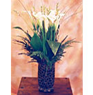 Colorful unique glass vase with White Calla, Learther Fern and Ixia
