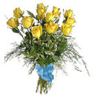 Dozen Yellow Roses combined with Eucalyptus, other floral and green accents tied with blue ribbon