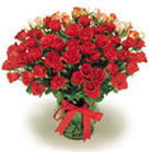 Israel Flowers  in Gift Baskets Delivery Haifa ,Israel Flowers  @ in Gift Baskets Delivery Haifa  24H Service A-Romance  bouquet of 120 Amour Roses in glass vase wrapped with red ribbon in glass vase